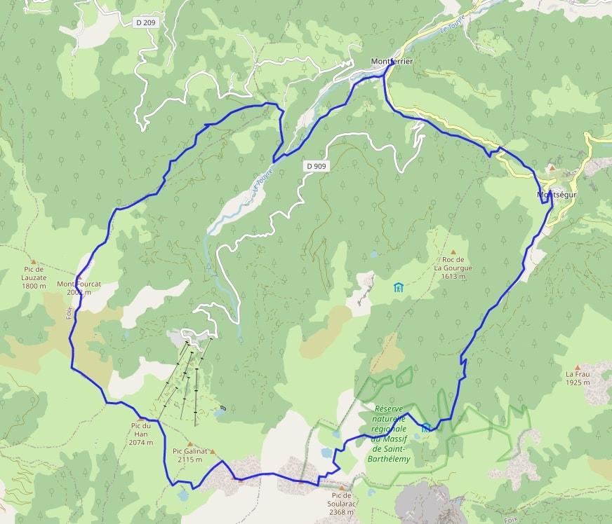 carte GRP Tour du massif de Tabe