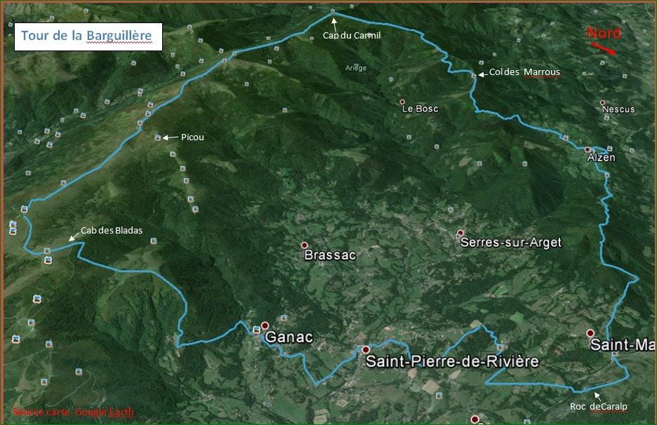 carte toucarte tour de la Barguillèrer de la Barguillère